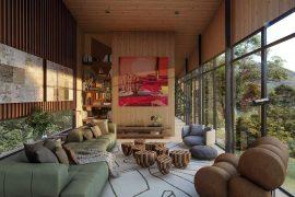 ESTAR – Assinado por Maurício Magarão Arquitetura, o espaço se inspira no perfil sustentável e o instinto livre do casal. Com 52 m², preza pela amplitude, incorporando amplas janelas, e um décor cheio de personalidade.